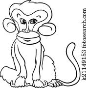 Clipart Of Cartoon Sad Monkey Coloring Page K14787200 Search Clip