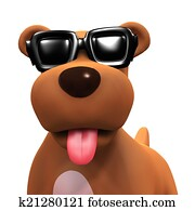 3d Puppy dog in cool shades