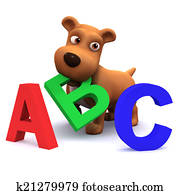 3d Puppy dog learns the alphabet