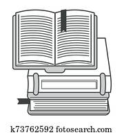 Books pile or textbooks stack with bookmarks isolated icon