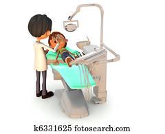 Cartoon boy getting a dental exam.