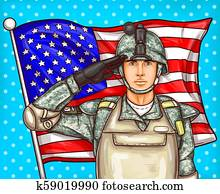 pop art illustration for a memorial day - a male soldier against an American flag