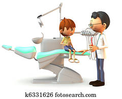 Scared cartoon boy visiting the dentist.
