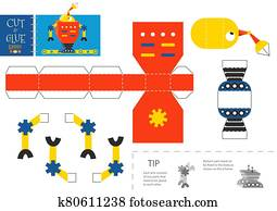 schneiden, und, klebstoff, roboter, spielzeug, vektor, illustration,, worksheet.