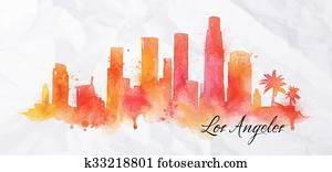 Silhouette watercolor Los Angeles