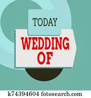 Text sign showing Wedding Of. Conceptual photo announcing that analysis and woanalysis now as married couple forever Blank banner rectangle square above semicircle down Geometrical background.