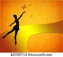 Vintage card with ballet dancer