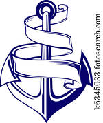Anchor with ribbon