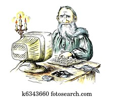 Ancient writer behind the computer