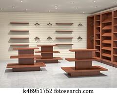 big empty store, 3d illustration