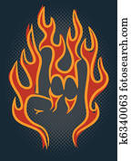 brennender, gestein, hand