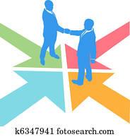Business people arrows meet deal agreement
