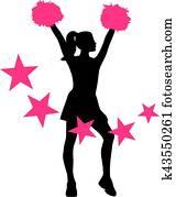 Cheerleader with pink stars