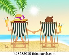 couple drink cocktail on the beach