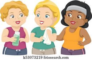 Girls Senior Exercise Group Illustration