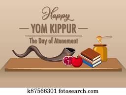 Happy Yom Kippur logo with shofar