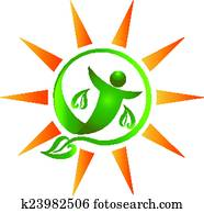Healthy person and sun concept of wellness life