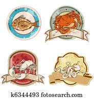 vintage labels with seafood