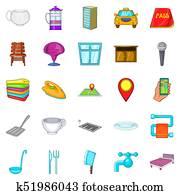 Bursa icons set, cartoon style