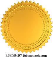 Golden award medal blank seal