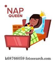Napping Girl, Sleeping Child Cartoon Character
