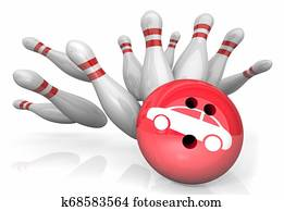 Car Auto Vehicle Bowling Strike Pins Win 3d Illustration