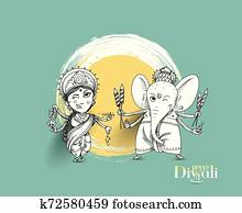 Hindu God Laxmi Ganesh at Diwali Festival, Hand Drawn Sketch Vector illustration.