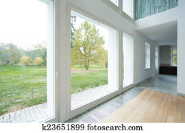 Large windows in modern house