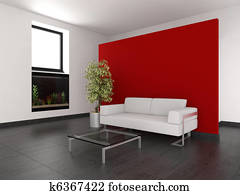 Soggiorno con pareti gialle archivio fotografico for Parete rossa soggiorno