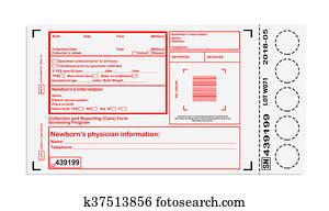 Blank card for newborn screening