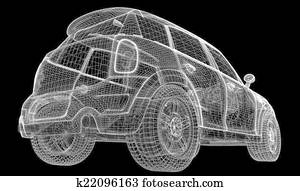 Car 3D model, top view Stock Illustration | k12950105 | Fotosearch