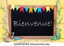 Chalkboard With Streamer, Bienvenue Means Welcome