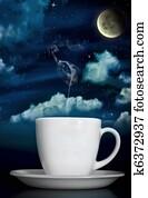 Dreamy Steaming Coffee Under Moonlight
