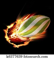 Rugby ball through fire