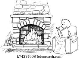 vektor, karikatur, abbildung, von, mann, stationieren, vor, kaminofen, in, bequem, sessel, oder, stuhl, und, lesende, dass, buch