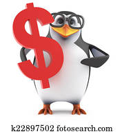 3d Academic penguin has US Dollars