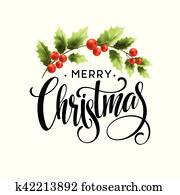 frohe weihnacht, schriftzug, mit, stechpalme, berry., vektor, abbildung