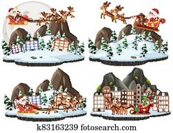 Set of cartoon christmas and santa claus with rain deer