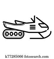 Winter sledding scooter icon