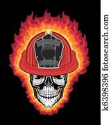 Firefighter Helmet and Skull