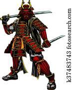 japanische, samurai, krieger