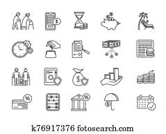 Large set of icons for a pension plan