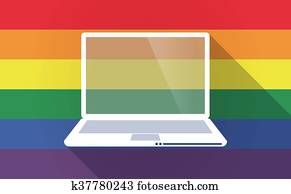 Long shadow Gay Pride flag with a laptop