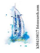 watercolor drawing of Dubai hotel. Burj Al Arab aquarelle painting