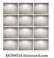 White Bookshelf Or Cut Empty Room Vector