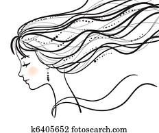 beautiful woman face silhouette