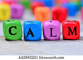 Calm word on table