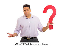 confused man holding question mark