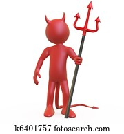 Devil posing with his trident