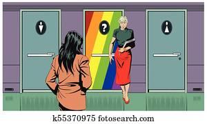 Doors toilets for men, women and sexual minorities. Transgenders.